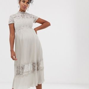 NWT Chi Chi London Maternity gray lace dress Sz 6